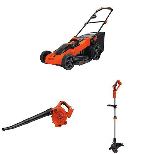 BLACK+DECKER 40V MAX Lithium Ion Lawn Mower and Bare Sweeper + String Trimmer
