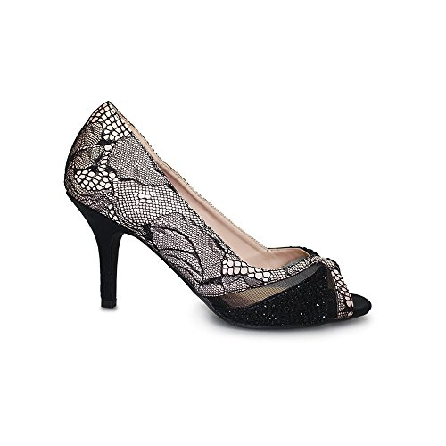 Lunar Ebony Lace Material Peep Toe Court in Nude/Black 3,4,5,6,7,8 Nude