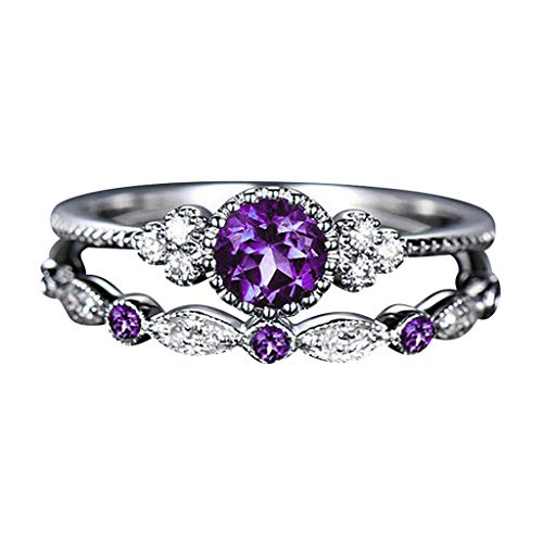 Mortilo Diamond Rings, Fashion Luxury Elegance Fashion Many Kinds of Diamond Rings for Women Girls(Fashion Ring-Purple,7)