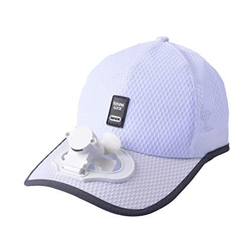 (Solar Energy Belt Fan Baseball Golf Hat Storage Belt Switch Fan Cap Sun hat Peaked Cap/Solar Panel on The Cap FrontHat White)