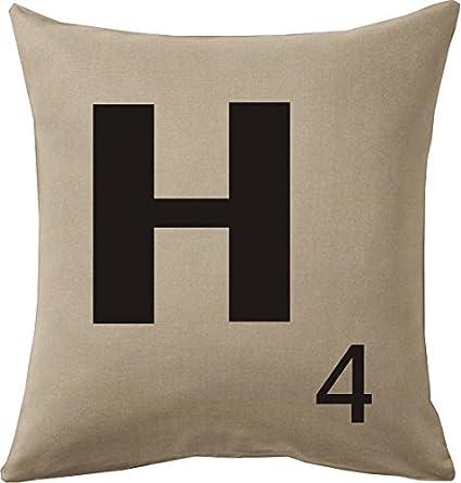 Cojines con la Letra H imitación fichas de Scrabble o apalabrados Medida 45X45 cm. Color beig. Solo Funda: Amazon.es: Hogar