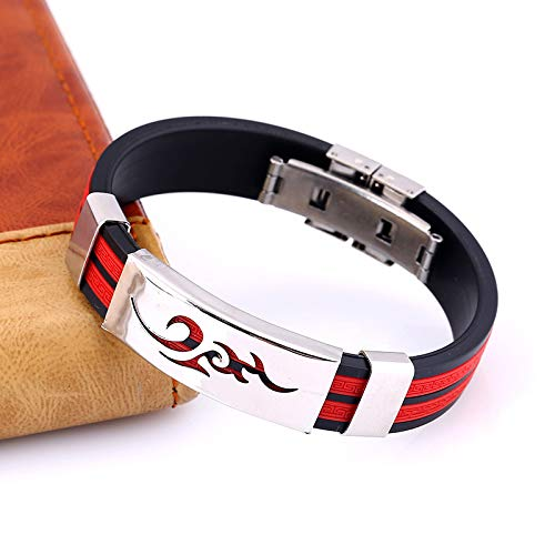 Daliuing Mens Silicone Bracelet Jewelry with Flame Great Wall Pattern