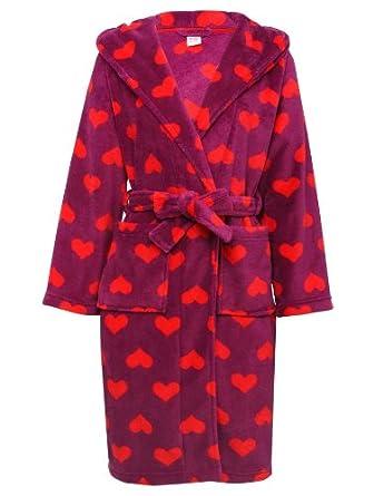 M&Co Teen Girl Fluffy Heart Print Plush Fleece Dressing Gown Robe ...