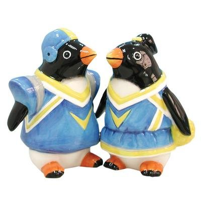 WL SS-WL-13125, 3.5 Inch Penguin Game Day Painted Ceramic Salt and Pepper Shakers 3.5""