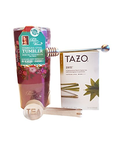 Tumbler Insulated Womens Tazo Zen Green Tea Gifts Set with Honey Dipper - 1 Pioneer Woman Stainless Steel Mug   Pack of 1 Tzao Green Tea   Squeeze Spoon   Hony Dipper