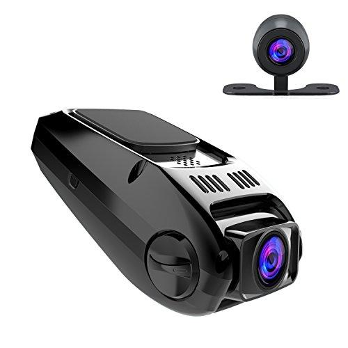 APEMAN Autokamera Dashcam Full HD versteckte DVR Dual Lens 170 ° Weitwinkelobjektiv mit GPS und G-Sensor Nachtsicht, Automatische Loop-Zyklus Aufnahme, Bewegungserkennung, Überwachung beim Parke