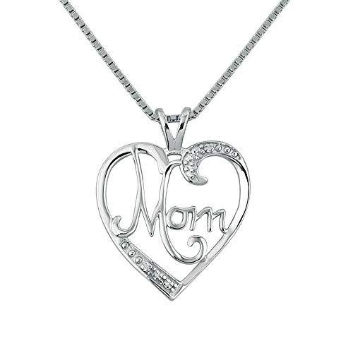 Moonlight Collections Clear April Birthstone Heart Mom Open Pendant Necklace Charms 925 Sterling Silver ()