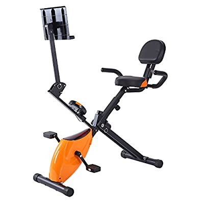 Ferty Fitness Folding Recumbent Exercise Bike,Cardio Cycle Indoor Seat Height Adjustable with 5 tension levels Calories?US STOCK?