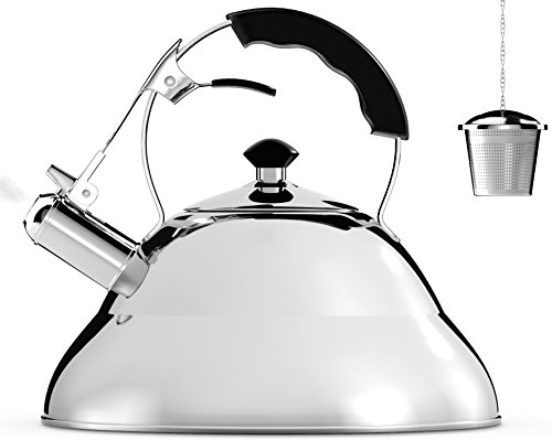 Tea Kettle - Surgical Whistling Teapot with Capsule Bottom and Mirror Finish, 2.75 Quart Tea Pot - Stove Top Tea Maker Infuser Teapots Strainer (Capsule Top)