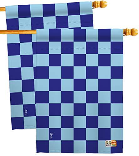 Americana Home & Garden HP140823-BOAE Blue Checker Special Occasion Merchant Impressions Decorative Vertical 28