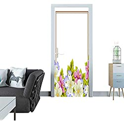Anmaseven Door Sticker Frame of a Few Flowers for Design of Cards Invitations Greeting for Birthday Wedding Party Holiday Celebration Valentine s Day Sticker for Door 30x79(77x200 cm)
