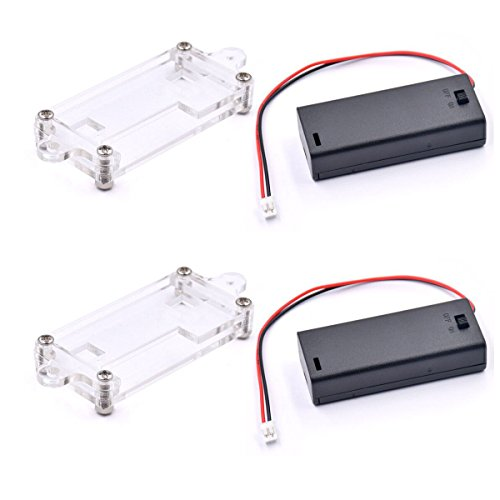 2pack Micro:bit Protective Case Acrylic Transparent Case and AAA Cell Battery Box Compatible with Micro:bit Board Power Connector for BBC Micro:bit Board