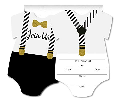 PaperGala Formal Glam Little Man Blank Invites 50 Pack Fill in Invitations with Envelopes for Baby Shower 1st Birthday Black White Gold Tuxedo ()