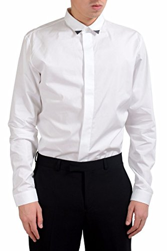 Dior Christian Men's Long Sleeve White Dress Shirt Size US 16 IT 41