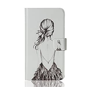 BLU Life Pure Mini Leather Case Flip Cover, Formalized Special Flip Painting Cartoon Case Cover for BLU Life Pure Mini , with Wallet and Stand Ability, inside card slots (Girl)