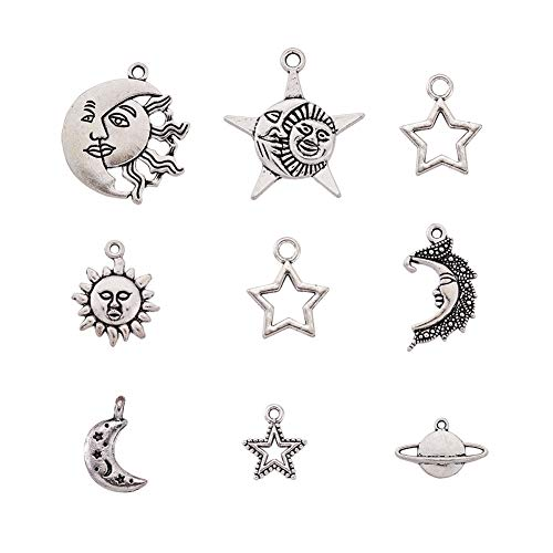 Kissitty 40pcs Antique Silver Small Celestial Charm Collection 8 Styles Moon Sun Star Milky Way Universe Theme Metal Spacer Charms