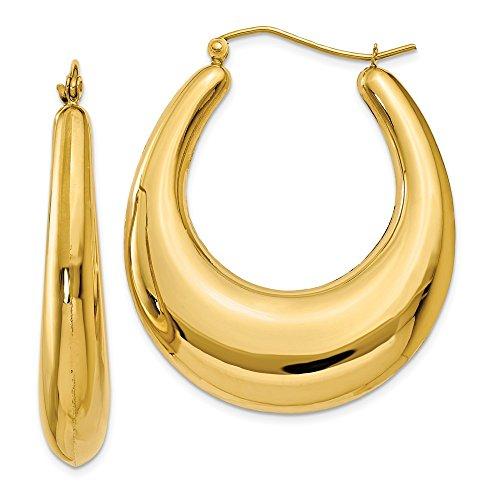 14K Yellow Gold 7.00MM Oval Shrimp Hoop Earrings ()