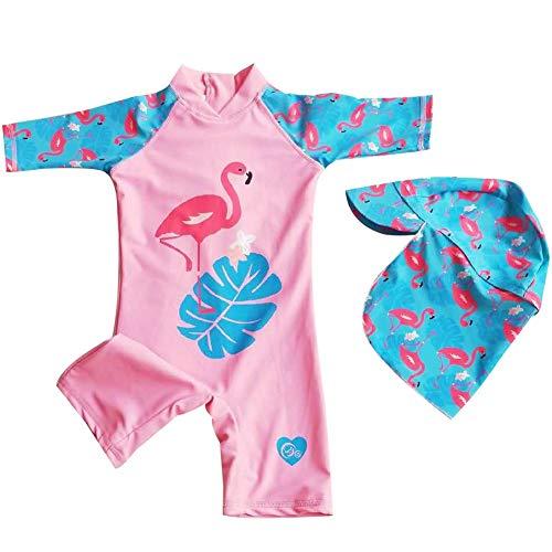 Baby Girls Swimsuit One Piece Flamingo Swimwear Rash Guard Sun Protection Wetsuit UPF50+ Holiday Beachwear 5