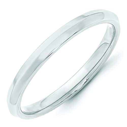 14K White Gold 2.5mm High Polish Finish Knife Edge Comfort Fit Wedding Band - Size 6.5
