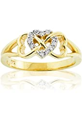 Solid 14k Yellow Gold Diamond Triple Heart Infinity Ring