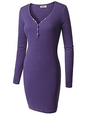 Doublju Womens Plus-size Longsleeve V-neck Button Front Casual Rib Cotton Knit Dress
