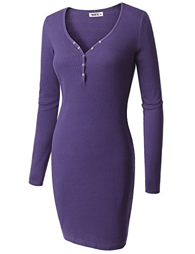 Doublju Womens Long Sleeve Button Down Henley Ribbed Knit Dress