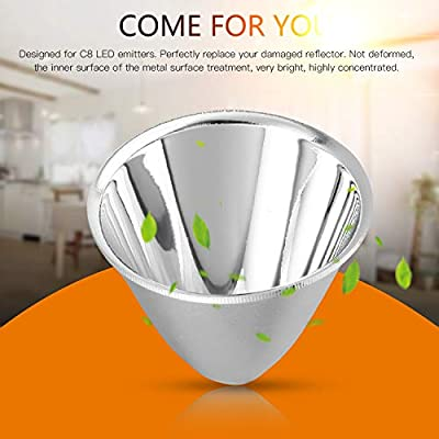 Silver 1pcs Replacement Aluminum Reflector Cup for C8 XM-L Flashlight DIY Light Weight Easy to Install No Tools Needed
