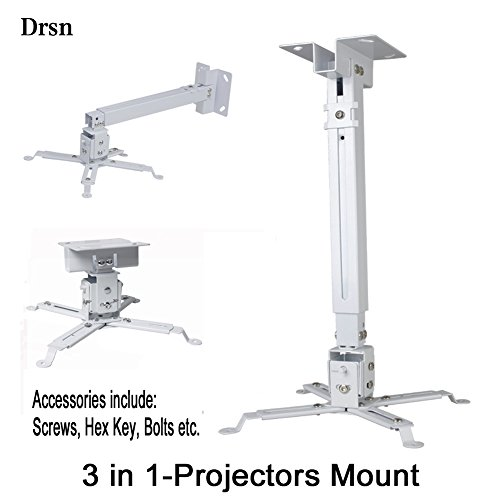 Universal Projector Ceiling Mount, Drsn Adjustable Project Wall Mount Extendable Projector Mount White 16-25 inch Thickened Steel for LCD/DLP Ceiling Projector Epson Optoma Benq ViewSonic by Drsn