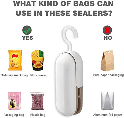 Mini Bag Sealer Handheld, 2 in 1 Heat Sealer and Cutter Portable Sealer with Hook for Plastic Bags Food Storage Snacks Bag (Battery Not Included)
