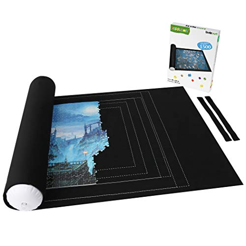 Lavievert Jigsaw Puzzle Storage Roll Mat with Unique Auxiliary Line Design for Up to 1,500 Pieces Puzzle, Puzzle Saver for Adults & Kids, Environmental Friendly Material