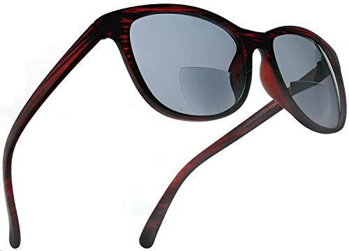 Bifocal Sun Readers Fashion Horn Rimmed Sunglasses with Matte Black and Wine Red Frame, Grey Lens, 2.00 Rx Magnification for Men and ()