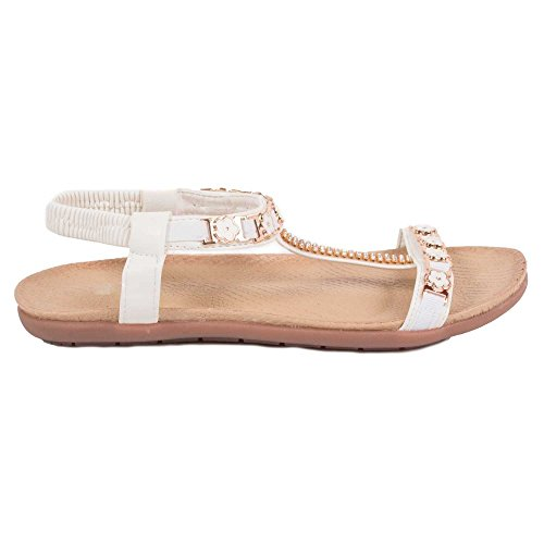 Primtex - Sandalias de vestir para mujer blanco