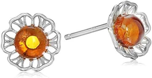 Rhodium Pated Silver Honey Amber Flower Stud Earrings