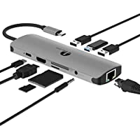 1byone USB C Hub, USB C Adapter 9 in 1 with USB-C Charging, Port of Mic/Audio,3 USB 3.0 Ports, HDMI, SD, Micro SD Compatible for MacBook Pro, Surface Pro,Notebook PC, USB Flash Drives and More
