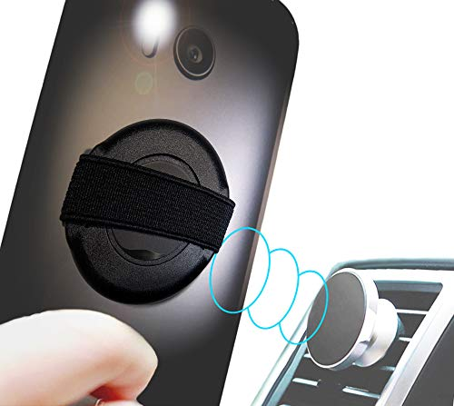 circett - Rotate 360° Phone Strap - Finger Elastic Handle Sling on Thin Rotating Ring - Scratch Guard Film - Auto Vent Magnet Hold - Washable Adhesive - Universal Android iPhone Samsung Galaxy - Black