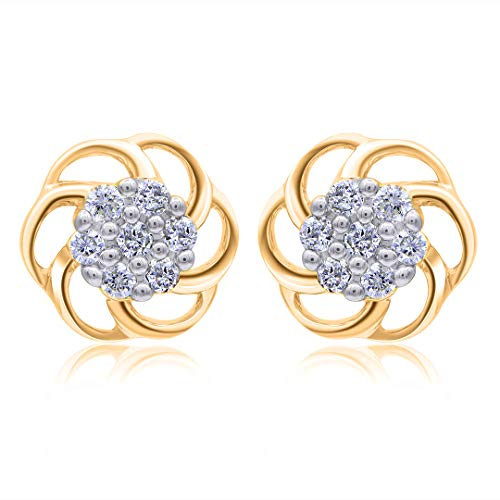 1/10 Carat Floral Natural Diamond Earrings 10K Yellow Gold (I-J Color, I3 Clarity) Diamond Earrings for Women Diamond Jewelry Gifts for - Floral Earrings Diamond
