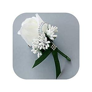 mamamoo Wedding Artificial Rose Flower Brooch Bouquet Corsage Glitter Rhinestone Ribbon Lace Classic Prom Boutonniere,10 4