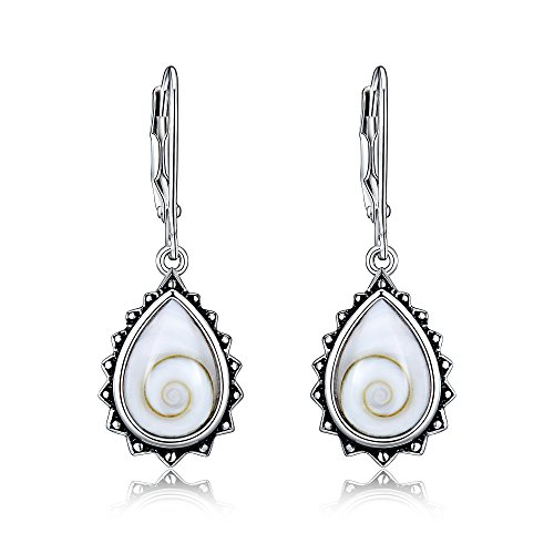 Sterling Silver Dangle Drop Lever Back Earrings With Natural Shells And Pre-Oxydized Rims For Sensitive Ears By Renaissance Jewelry