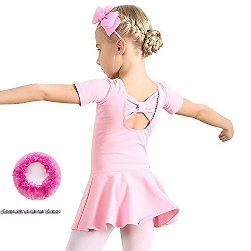 Hesuimaoyi Girls' Dance Dress Short Sleeve Ballet Leotard Skirt Athletic Leotards Snood 150 -