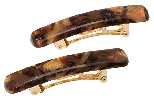 France Luxe Mini Rectangle Barrette Pair - Pavlova Brown
