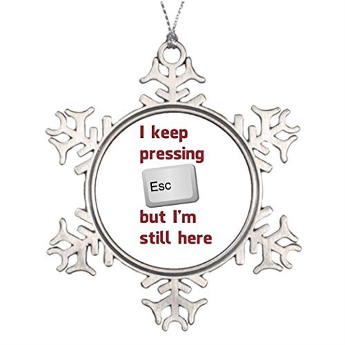 Personalised Christmas Tree Decoration Computers Unusual Garden Snowflake Funny Ornaments Sarcastic I Keep Pressing The Escape Key But Im Still Here