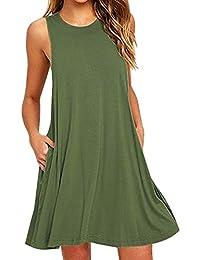 OMZIN Womens Basic Sleeveless Long A-Line Tank Top Tunic Plus Size S-2XL