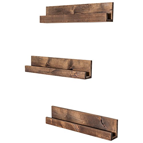 Drakestone Designs Floating Nursery Bookshelves | Solid Wood | Wall Mount | Modern Farmhouse Decor | 28 x 4 Inches - Walnut Finish (Set of 3) ()