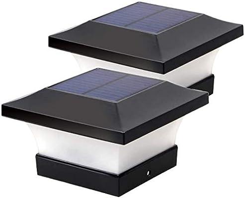 Luces de poste solares LED Jardín al aire libre Impermeable Cuadrado Negro Lámpara de tapa de poste de paisaje para postes de madera 4x4, cubierta, patio (luz blanca 6000K, 2 piezas): Amazon.es: