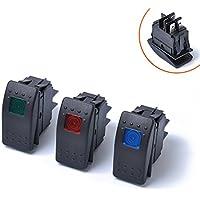 ETbotu 4pin étanche 12V 20A Barre Rocker Interrupteur à Bascule LED Interrupteur pour véhicule Voiture Bateau