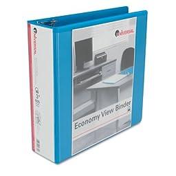 Universal Economy D-Ring Vinyl View Binder, 3in Capacity, Light Blue