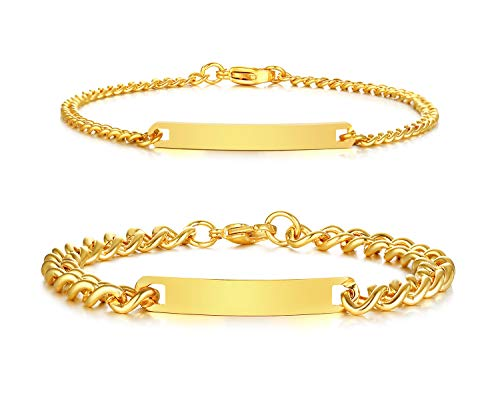 - PJ Jewelry Free Engraving Stainless Steel His and Hers Nameplate Initial Couple Matching ID Identification Bracelet