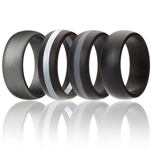 Ring for Men, Silicone Rubber Band 4 Pack - Black, Grey, Silver, Beveled Metallic Platinum, Size 14 (Brown Platinum Ring)