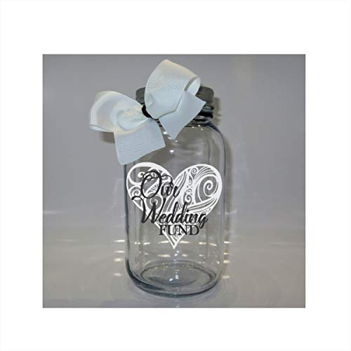 Our Wedding Heart Fund Mason Jar Bank - Coin Slot Lid - Available in 3 Sizes