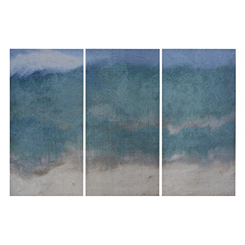 "Décor 5 - Printed Triptych Canvas Set - 3 Pieces, 14'' x 28"" - Abyss - Abstract, Landscape, Aqua, Teal"